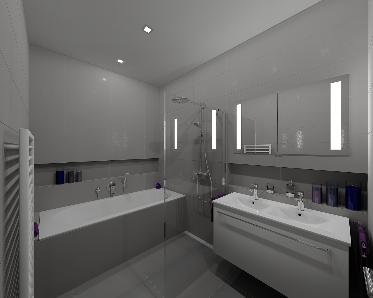 Modern grey bathroom bathroom by tom on for Grey modern bathroom design