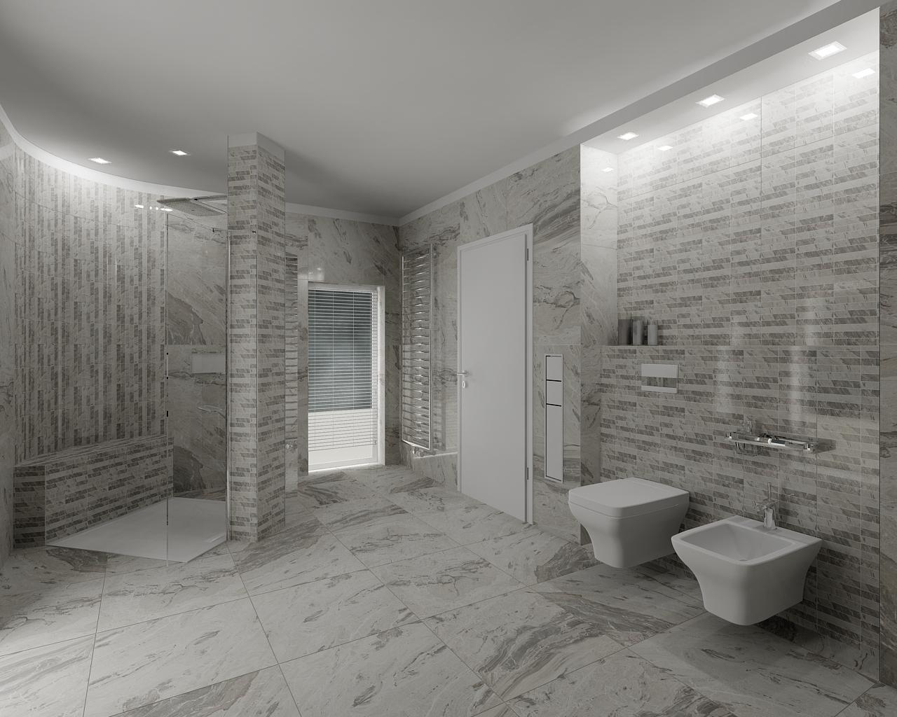 Modern grey bathroom bathroom by tom on for Salle de bain avec toilette
