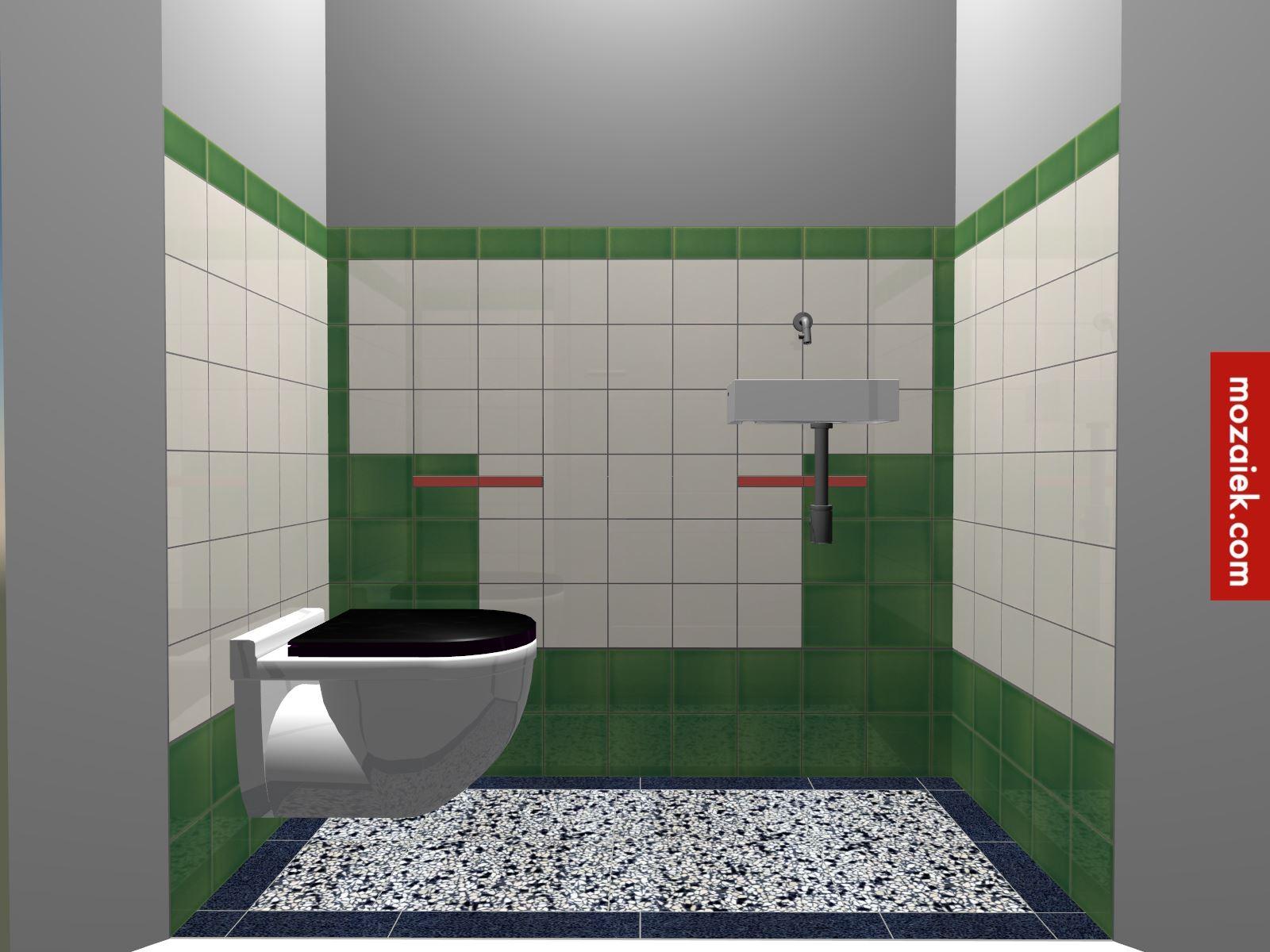 jaren 30 tegellambrisering toilet Bathroom door Monique Mozaiek ...