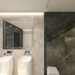 Bathroom Modern Black-and-Beige Marble Bathroom (ViSoft)