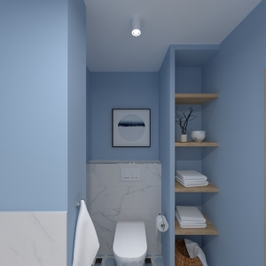 Bathroom Modern Blue Geometry Bathroom (ViSoft)