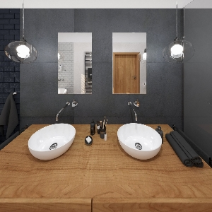 Bathroom Black and Wood Bathroom (ViSoft)