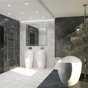 LivingRoom Modern Black-and-Beige Marble Bathroom_02