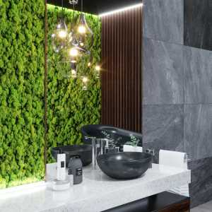 Dark Moss Wooden Bathroom