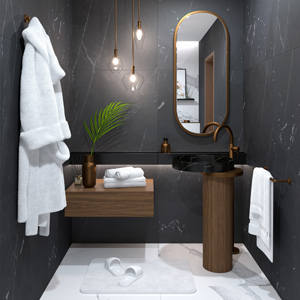 Kitchen Small marble bathroom by ViSoft: project (ViSoft)