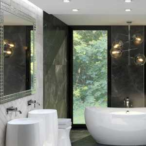 Kitchen Modern Black-and-Beige Marble Bathroom (ViSoft)